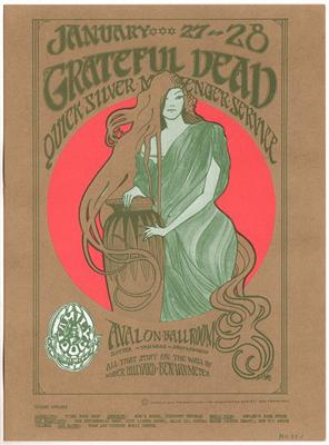 Grateful Dead concert poster from Avalon Ballroom 1-27-66 by Stanley Mouse and Alton Kelley