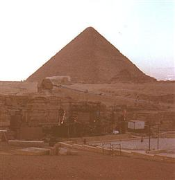 The stage in front of the great pyramid in Egypt