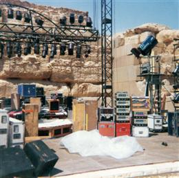 The stage being set up for the Grateful Dead in Egypt.