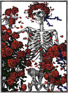 Grateful Dead skeleton and roses