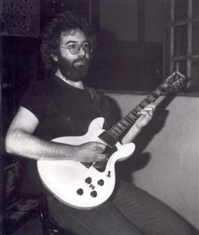 Jerry Garcia with his Travis bean guitar.