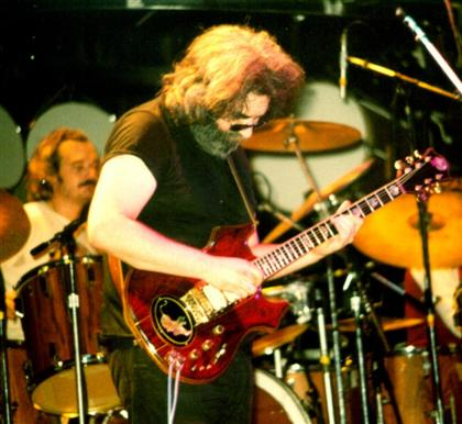 Jerry Garcia on stage at the Civic Center, Providence, RI 11-4-79