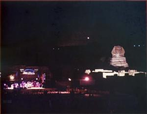 The Sphinx lit up at night for the Grateful Dead Egypt shows