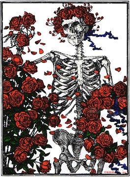 Grateful Dead skeleton and roses