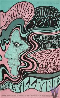 Grateful Dead concert poster for the Fillmore 2-24-67 by Wes Wilson.