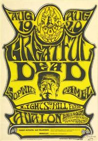 Grateful Dead concert poster for the Avalon Ballroom 8-19-66 by Stanley Mouse and Alton Kelley