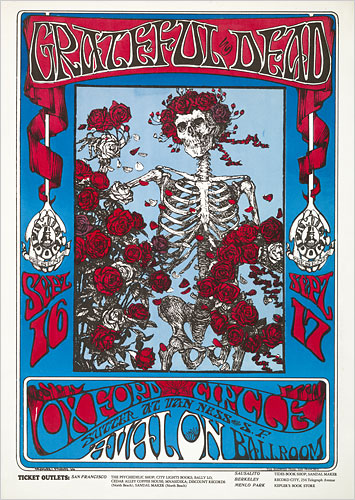 The skeleton and roses concert poster for the Avalon Ballroom 9-16-66 by Stanley Mouse and Alton Kelley